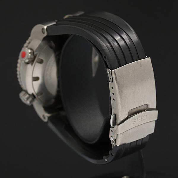 1円★稼働品【オリス/ORIS】ISO2281 デイト 1000M/3330FT ブラック文字盤 ラウンド ラバー AT メンズ腕時計 075A0010777