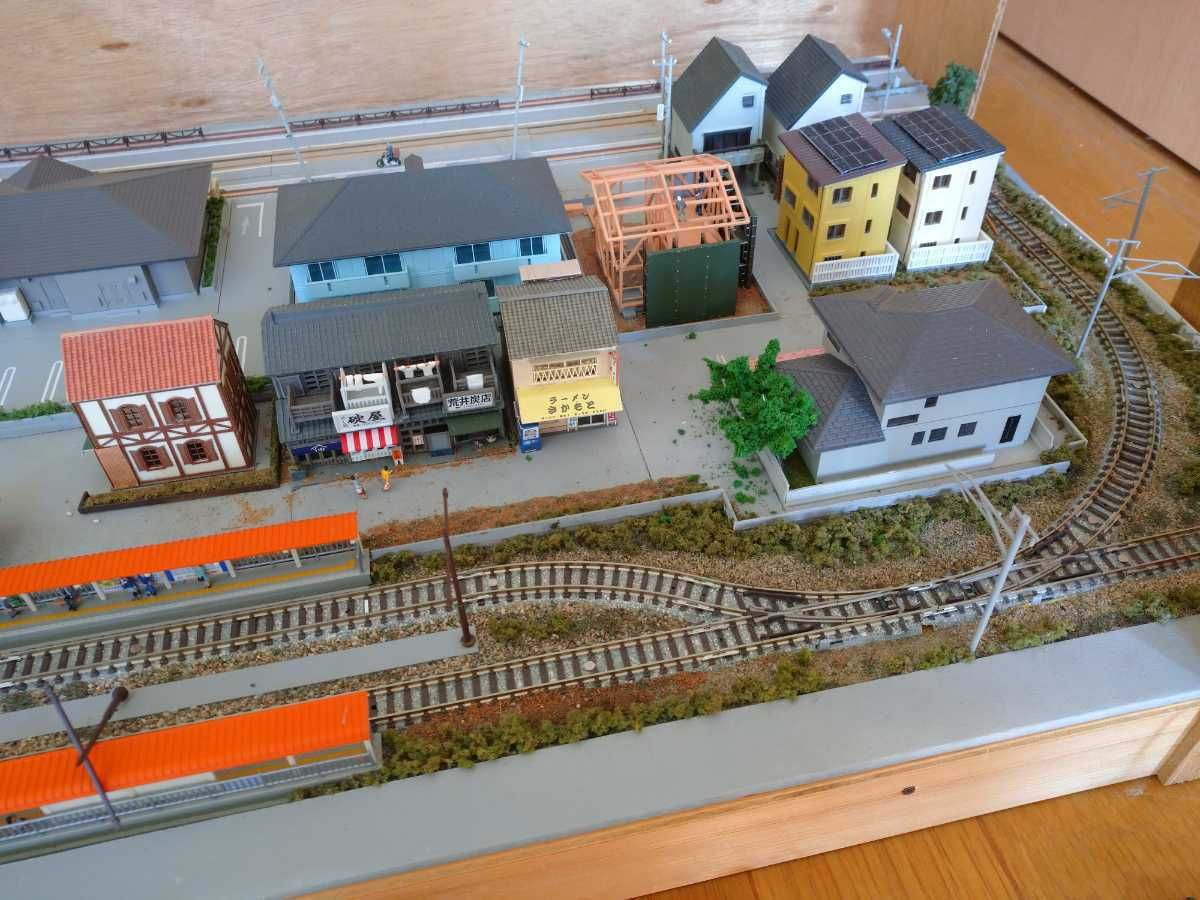 即決!Nゲージジオラマ町と路面電車の風景電車車両は付きません